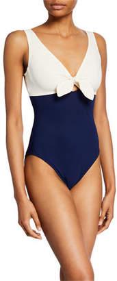 Karla Colletto Grace Contrast Cutout-Tie One-Piece Swimsuit