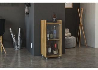 Boahaus Classic Mini Bar, One Glass Door, 2 Shelves, Brown