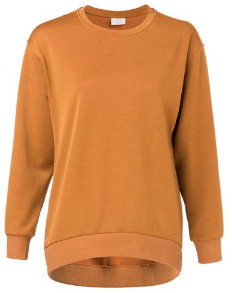 Ya-Ya Round Neckline And Elongated Back Shiny Jersey Sweater - S - Orange