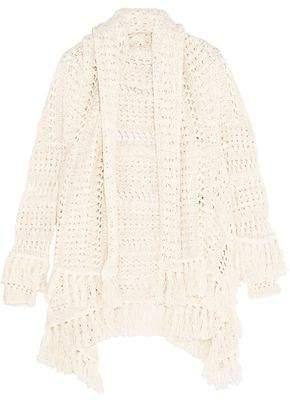 Maje Draped Open-Knit Cotton-Blend Cardigan