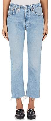 RE/DONE Women's High Rise Crop Flare Levi's® Jeans - Indigo Med Distressed