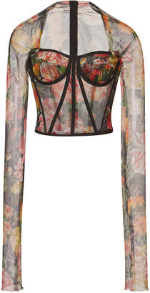 Dolce & Gabbana Cropped Floral-Print Tulle Bustier Top