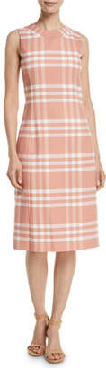 Oscar de la Renta Sleeveless High-Neck Plaid Wool Sheath Midi Dress