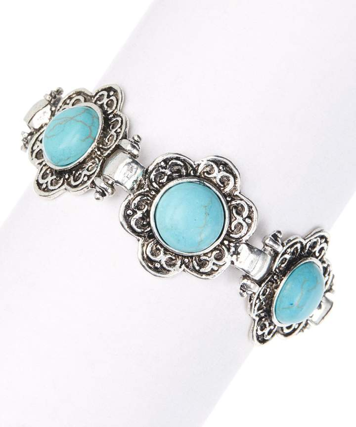 Faux Turquoise & Silvertone Blue Island Retro Bracelet