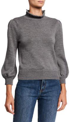 Co Ruffled Turtleneck Long-Sleeve Wool Sweater