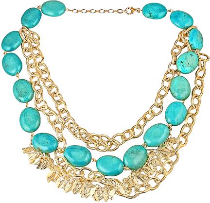 K. Amato Gold and Turquoise Necklace