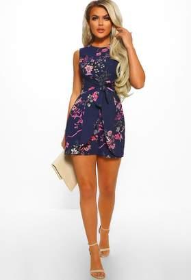 d56b54518f Pink Boutique These Daze Navy Floral Print Tie Front Playsuit