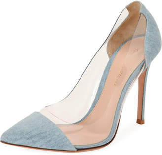 Gianvito Rossi Plexi Denim Illusion 105mm Pumps, Denim