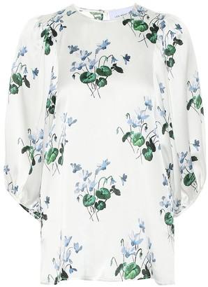 Les Rêveries Floral silk-satin blouse