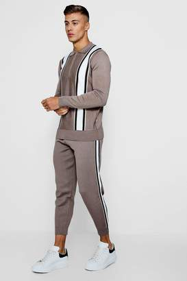 boohoo Zip Neck Polo Stripe Intarsia Knitted Set