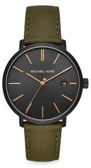 Michael Kors Blake Three-Hand Stainless Steel Green Leather Strap Watch - Olive