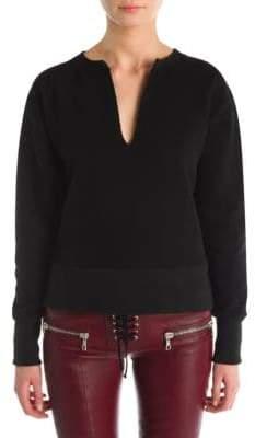 Taverniti So Ben Unravel Project Cotton Slash-Neck Sweatshirt