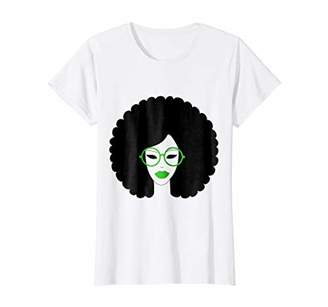 Womens Afro and Glasses Green Round Natural Black Hair Shirt