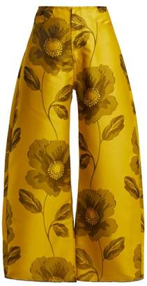 Marques'almeida - Floral Jacquard Wide Leg Trousers - Womens - Yellow Print