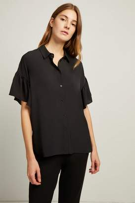French Connenction Crepe Light Ruffle Sleeve Shirt