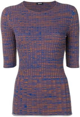 Jil Sander Navy ribbed knitted top