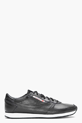Diesel black snakeskin Pass On sneakers
