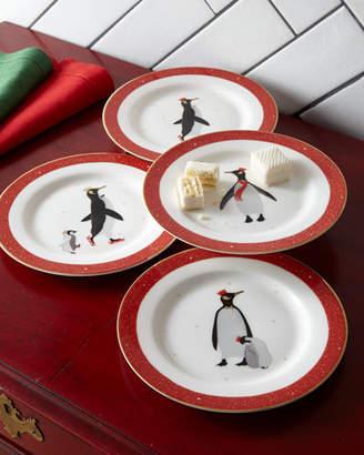 Portmeirion Sara Miller Red Penguins Holiday Assorted Desert Plates, Set of 4