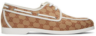 Gucci Brown and White Canvas GG Boat Shoes