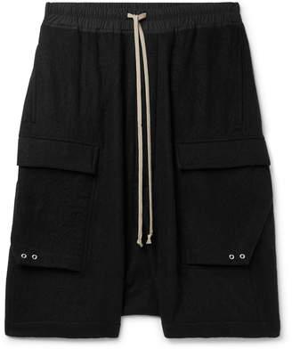 Rick Owens Pod Poplin-Trimmed Brushed Virgin Wool-Twill Cargo Shorts