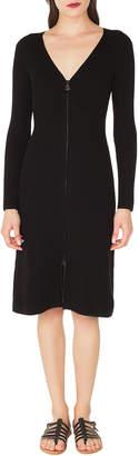 Akris V-Neck Zip-Front Long-Sleeve Rib-Knit Dress