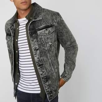 River Island Mens Grey acid wash oversized denim jacket