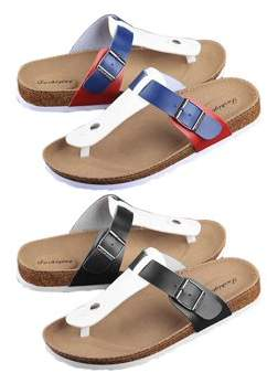 OUTAD Women Buckle T Strap Sandal Footbed Sandals Flat Platform Flip Flops Shoes Spring Summer Autumn Casual Slippers