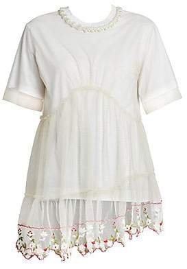 Simone Rocha Women's Lace Floral Embroidered Layered Tee