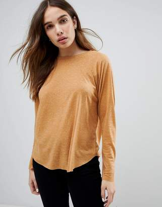 Asos Design T-Shirt with Long Sleeve in Linen Mix