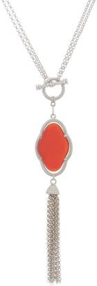 "Gemstone Tassel 24"" Necklace, Sterling Silver"
