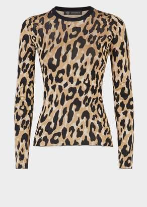 Versace Animalier Long Sleeve Knit Top