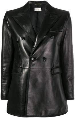 double-breasted leather blazer