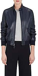 The Row Women's Ehrly Leather Bomber Jacket - Navy