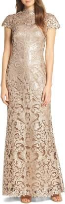 Tadashi Shoji Embellished Mesh Evening Dress