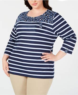 Karen Scott Plus Size Printed 3/4-Sleeve Top