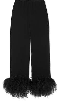 Prada Feather-trimmed Crinkled Silk-chiffon Straight-leg Pants - Black