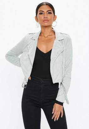 Missguided Petite Gray Cropped faux Suede Biker Jacket