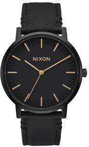 Nixon Porter Leather All Black Watch