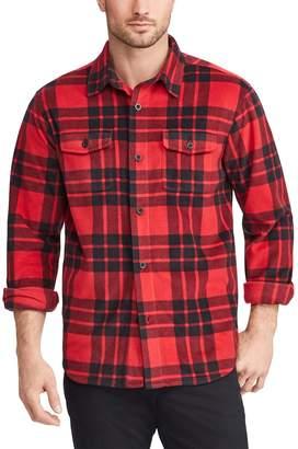 Chaps Men's Regular-Fit Plaid Microfleece Shirt Jacket