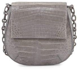 Nancy Gonzalez Crocodile Shoulder Saddle Bag, Gray