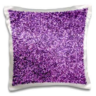 Fashionable 3dRose Purple Faux Glitter - photo of glittery texture girly trendy glam sparkly bling effect - Pillow Case, 16 by 16-inch