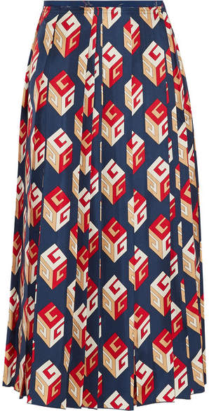 Gucci - Pleated Printed Silk-twill Midi Skirt - Navy