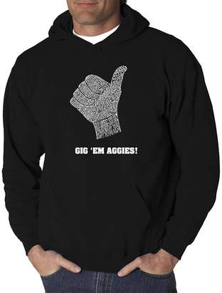 E.m. LOS ANGELES POP ART Los Angeles Pop Art Men's Word Art Gig 'Em Aggies Hoodie