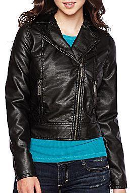 JCPenney Jou Jou Asymmetrical Faux Leather Jacket