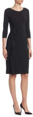 Emporio Armani Matte Jersey Side Ruffle Sheath Dress