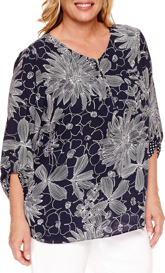 Alfred DunnerAlfred Dunner Seas The Day 3/4 Sleeve V Neck Woven Blouse-Plus