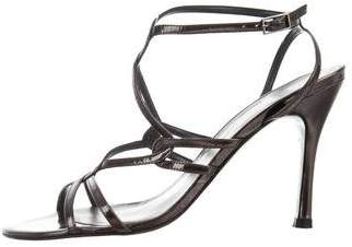 Stuart Weitzman Patent Leather Ankle Strap Sandals