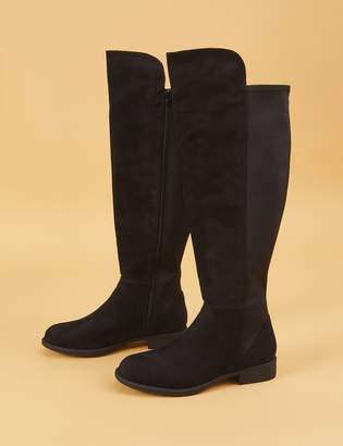 Lane Bryant Faux Suede To-the-Knee Stretch Back Black Boot