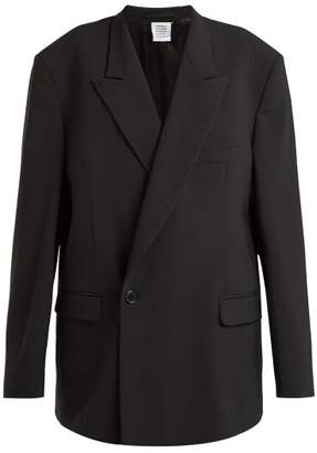Vetements - Double Breasted Cotton Blazer - Womens - Black