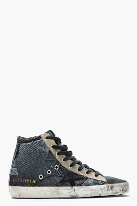 Golden Goose Black Tropical Print Francy Sneakers